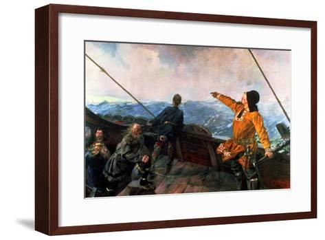 Leif Eriksson (10th Century) Sights Land in America, 1893-Christian Krohg-Framed Art Print
