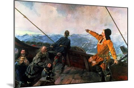 Leif Eriksson (10th Century) Sights Land in America, 1893-Christian Krohg-Mounted Giclee Print