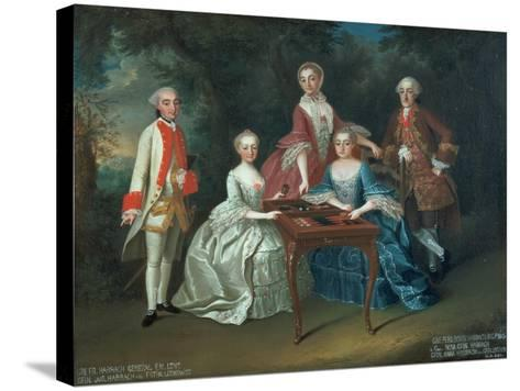 Group Portrait of the Harrach Family Playing Backgammon Including General Count Ferdinand Harrach-Johann Wilhelm Hoffnas-Stretched Canvas Print