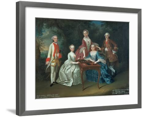 Group Portrait of the Harrach Family Playing Backgammon Including General Count Ferdinand Harrach-Johann Wilhelm Hoffnas-Framed Art Print