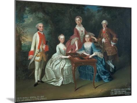 Group Portrait of the Harrach Family Playing Backgammon Including General Count Ferdinand Harrach-Johann Wilhelm Hoffnas-Mounted Giclee Print