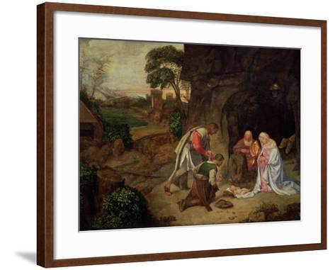 Adoration of the Shepherds, 1510-Giorgione-Framed Art Print
