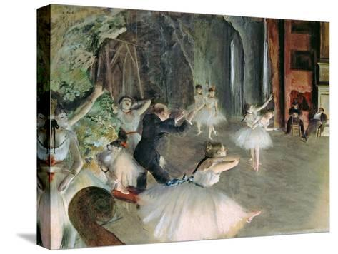 The Rehearsal of the Ballet on Stage, circa 1878-79-Edgar Degas-Stretched Canvas Print