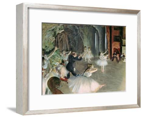 The Rehearsal of the Ballet on Stage, circa 1878-79-Edgar Degas-Framed Art Print