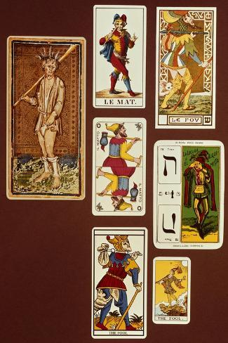 0 the Fool, Seven Tarot Cards from Different Packs--Stretched Canvas Print