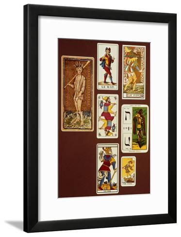 0 the Fool, Seven Tarot Cards from Different Packs--Framed Art Print