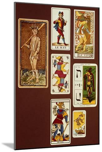 0 the Fool, Seven Tarot Cards from Different Packs--Mounted Giclee Print