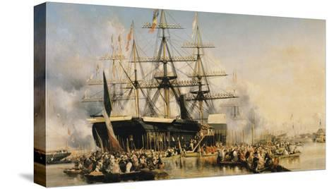 King Louis-Philippe (1830-48) Disembarking at Portsmouth, 8th October 1844, 1846-Louis Eugene Gabriel Isabey-Stretched Canvas Print