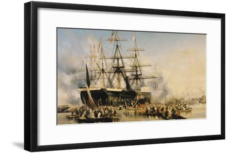 King Louis-Philippe (1830-48) Disembarking at Portsmouth, 8th October 1844, 1846-Louis Eugene Gabriel Isabey-Framed Art Print