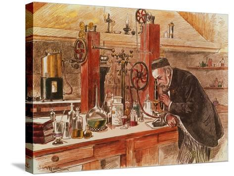 Louis Pasteur Experimenting for the Cure of Hydrophobia in His Laboratory, c. 1885, Pub. c. 1895-Adrien Emmanuel Marie-Stretched Canvas Print