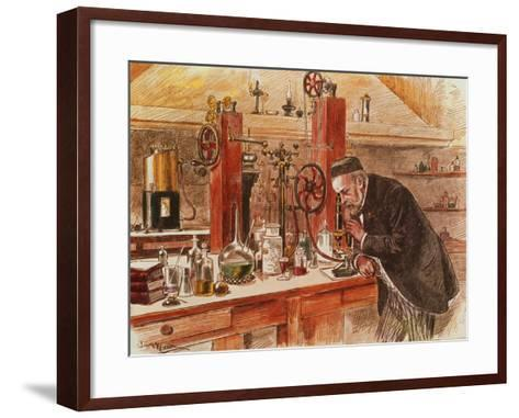 Louis Pasteur Experimenting for the Cure of Hydrophobia in His Laboratory, c. 1885, Pub. c. 1895-Adrien Emmanuel Marie-Framed Art Print