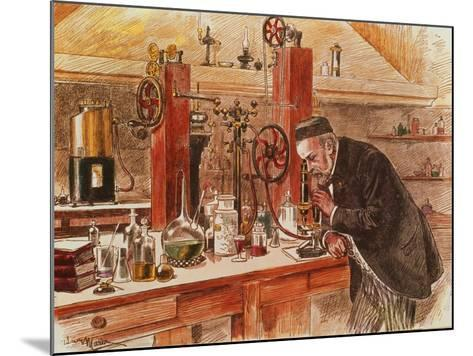 Louis Pasteur Experimenting for the Cure of Hydrophobia in His Laboratory, c. 1885, Pub. c. 1895-Adrien Emmanuel Marie-Mounted Giclee Print