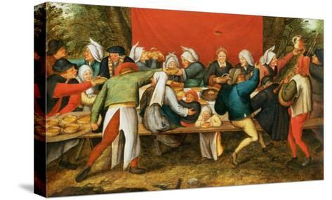 A Wedding Feast-Pieter Brueghel the Younger-Stretched Canvas Print