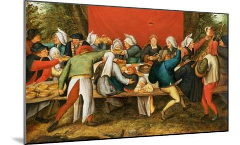 A Wedding Feast-Pieter Brueghel the Younger-Mounted Giclee Print