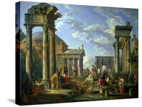 Roman Ruins with a Prophet, 1751-Giovanni Paolo Pannini-Stretched Canvas Print