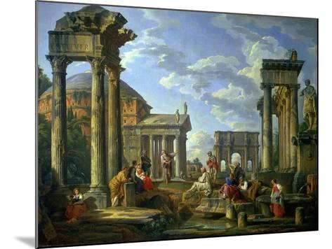 Roman Ruins with a Prophet, 1751-Giovanni Paolo Pannini-Mounted Giclee Print