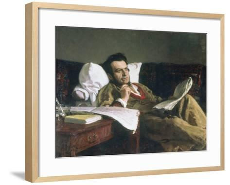 Portrait of Mikhail Glinka at the Time of His Composition of the Opera Ruslan and Ludmilla, c. 1887-Ilya Efimovich Repin-Framed Art Print