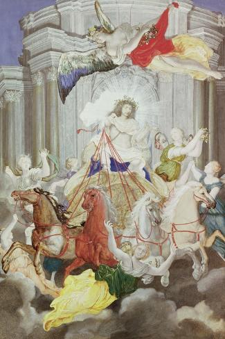 Triumph of King Louis XIV (1638-1715) of France Driving the Chariot of the Sun Preceded by Aurora-Joseph Werner-Stretched Canvas Print