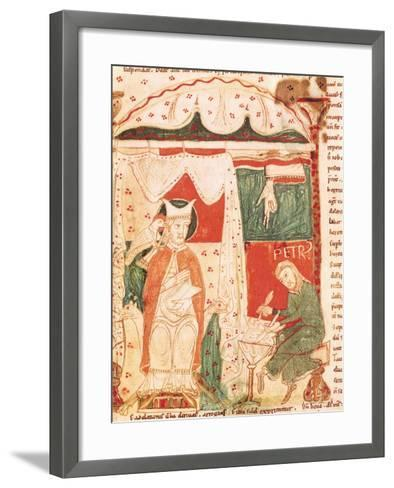 Pope Gregory I the Great (circa 540-604) Dictating the Book of Job to His Scribe Peter--Framed Art Print