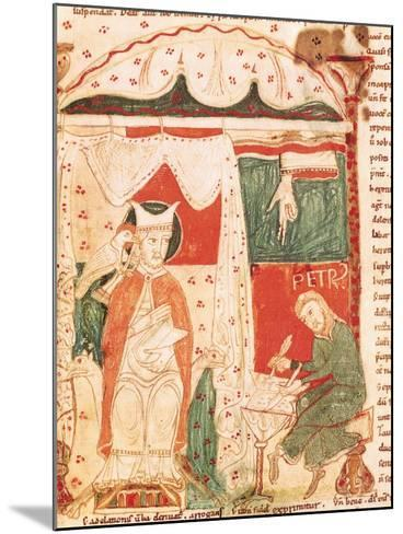 Pope Gregory I the Great (circa 540-604) Dictating the Book of Job to His Scribe Peter--Mounted Giclee Print