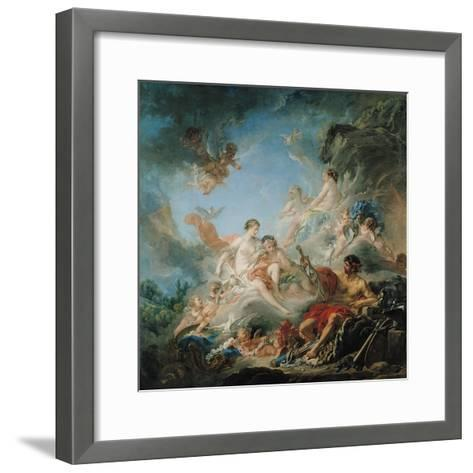 The Forge of Vulcan, or Vulcan Presenting Arms for Aeneas to Venus, Tapestry Cartoon, 1757-Francois Boucher-Framed Art Print