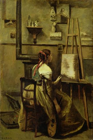 The Studio of Corot, or Young Woman Seated Before an Easel, 1868-70-Jean-Baptiste-Camille Corot-Stretched Canvas Print