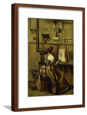 The Studio of Corot, or Young Woman Seated Before an Easel, 1868-70-Jean-Baptiste-Camille Corot-Framed Art Print