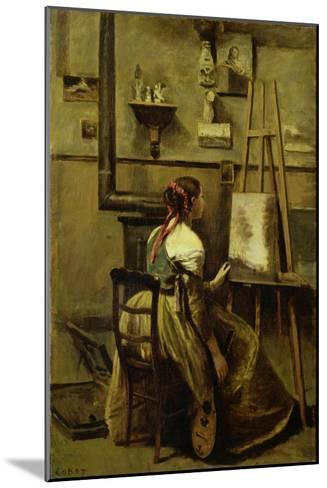 The Studio of Corot, or Young Woman Seated Before an Easel, 1868-70-Jean-Baptiste-Camille Corot-Mounted Giclee Print