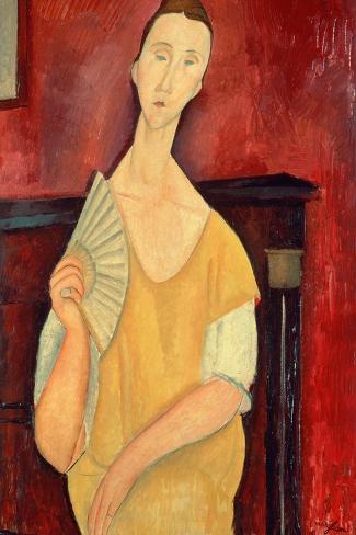 Woman with a Fan (Lunia Czechowska) 1919-Amedeo Modigliani-Stretched Canvas Print