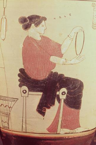 Vase or Lekythos, Detail of a Seated Woman, Attributed to the Villa Giulia Painter, Greek--Stretched Canvas Print