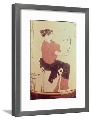 Vase or Lekythos, Detail of a Seated Woman, Attributed to the Villa Giulia Painter, Greek--Framed Art Print