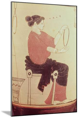 Vase or Lekythos, Detail of a Seated Woman, Attributed to the Villa Giulia Painter, Greek--Mounted Giclee Print