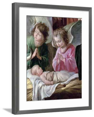 Adoration of the Shepherds, Detail of the Angels and Child, circa 1638-Antoine & Louis Le Nain-Framed Art Print
