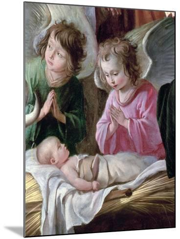 Adoration of the Shepherds, Detail of the Angels and Child, circa 1638-Antoine & Louis Le Nain-Mounted Giclee Print