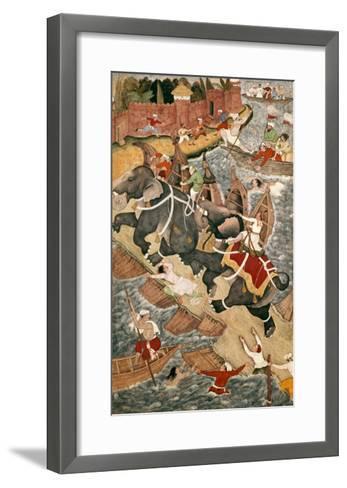 Akbar Tames the Savage Elephant, Hawa'I, Outside the Red Fort at Agra-Basawan-Framed Art Print
