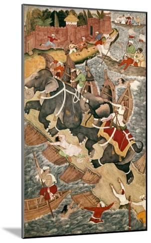 Akbar Tames the Savage Elephant, Hawa'I, Outside the Red Fort at Agra-Basawan-Mounted Giclee Print
