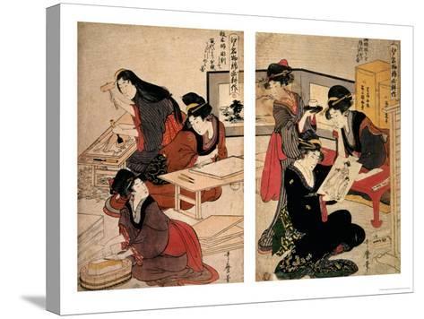 Artisans Making a Woodcut, circa 1857 (Coloured Woodblock)-Utagawa Kunisada-Stretched Canvas Print