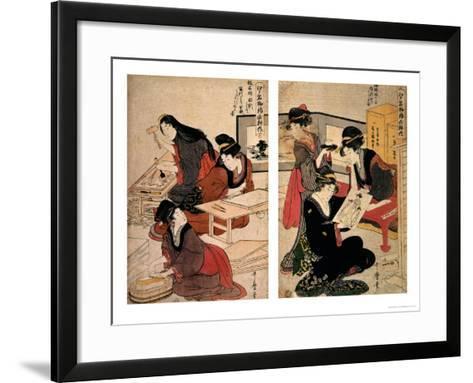Artisans Making a Woodcut, circa 1857 (Coloured Woodblock)-Utagawa Kunisada-Framed Art Print