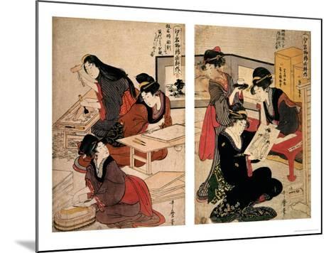 Artisans Making a Woodcut, circa 1857 (Coloured Woodblock)-Utagawa Kunisada-Mounted Giclee Print