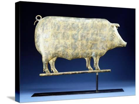 A Molded and Copper Gilded Copper Pig Weathervane, American, 19th Century--Stretched Canvas Print