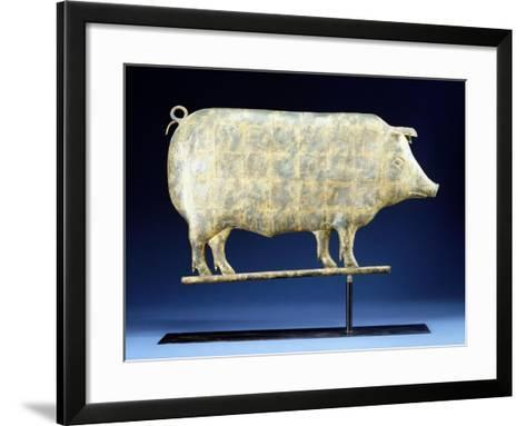 A Molded and Copper Gilded Copper Pig Weathervane, American, 19th Century--Framed Art Print