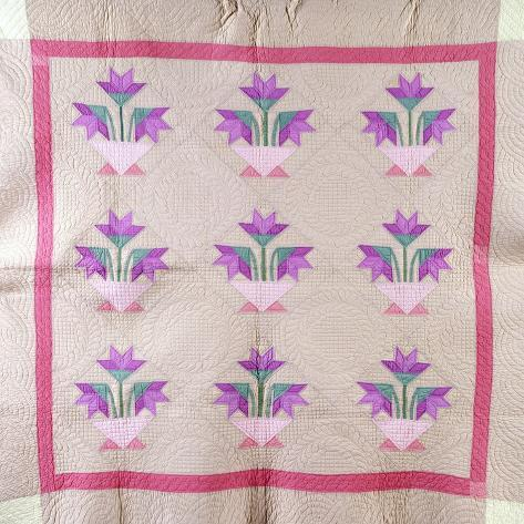 An Amish Pieced and Appliqued Cotton Quilted Coverlet, circa 1930--Stretched Canvas Print