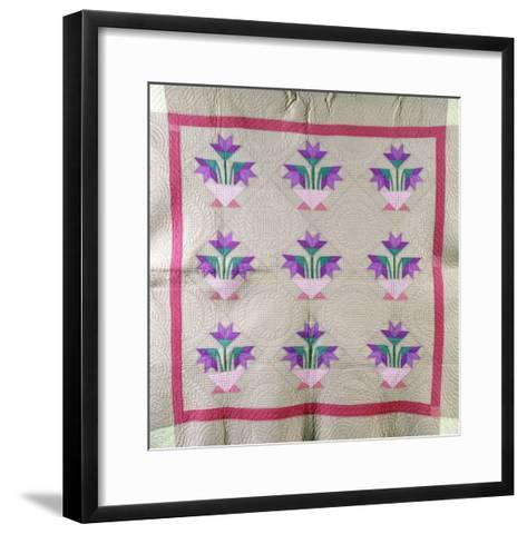 An Amish Pieced and Appliqued Cotton Quilted Coverlet, circa 1930--Framed Art Print