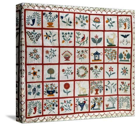 Appliqued Cotton Quilt Coverlet, Probably New York, Dated January 15th, 1859--Stretched Canvas Print