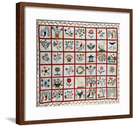 Appliqued Cotton Quilt Coverlet, Probably New York, Dated January 15th, 1859--Framed Art Print