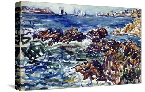 Rocky Cove with Village and Sketch of Rocks-Maurice Brazil Prendergast-Stretched Canvas Print
