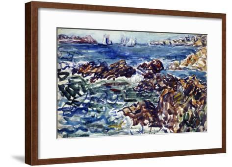 Rocky Cove with Village and Sketch of Rocks-Maurice Brazil Prendergast-Framed Art Print