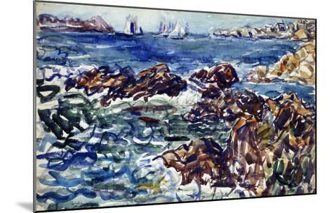 Rocky Cove with Village and Sketch of Rocks-Maurice Brazil Prendergast-Mounted Giclee Print