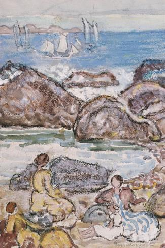 By the Sea-Maurice Brazil Prendergast-Stretched Canvas Print