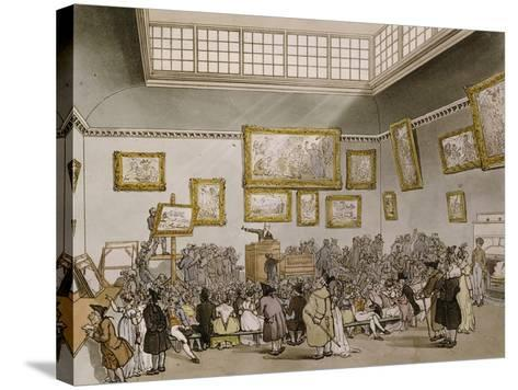Colored Aquatint of Christies Auction Room, London, 1808--Stretched Canvas Print